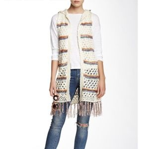Blu Pepper Womens Knit Cardigan Vest Hooded Fringe